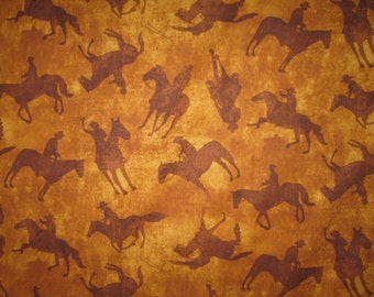 Cowboys Cowgirls Horses Tan Brown Cotton Fabric Fat Quarter or Custom Listing