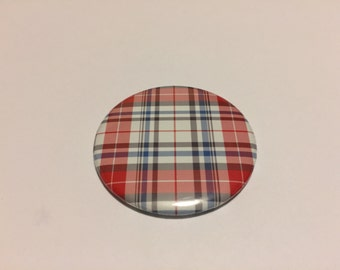 """2.25"""" Handmade Pocket Mirror Red with Blue and White Plaid"""