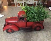Red PICKUP Metal Truck Spring Mantle with Greenery Tabletop Arrangement Retro Farmhouse Chic Rustic Decor Vintage Look Style Toy