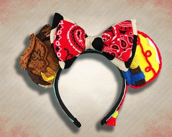 Cowgirl and Horse Mouse Ears w/ Bow
