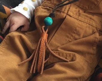 Leather Tassel Necklace // Acorn Turquoise // Rosebud Originals