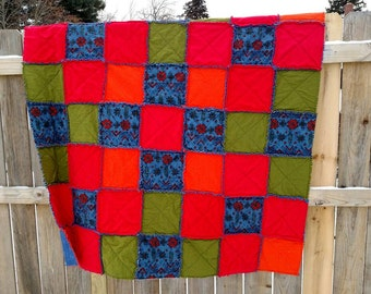 """Flannel & fleece rag quilt - coordinating 16"""" pillow red, blue, orange, green 60"""" x 60"""" arrows southwestern Ready to Ship"""