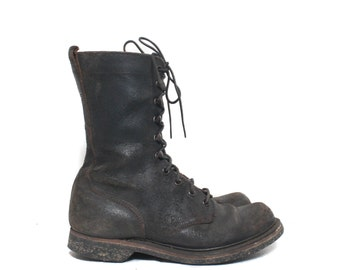 7 1/2 EE (Wide) | Men's Vintage 1950's Endicott Johnson Combat Boots Military Horsehide Boot