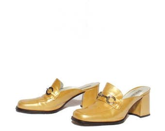 SALE 8 B | 1990's Vintage Yellow Patent Leather Penny Loafer Mules with Chunky Heels