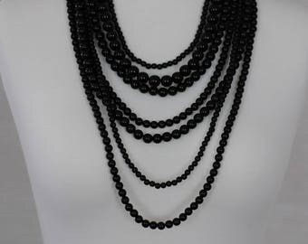 Bib Necklace, Layered Necklace, Black Necklace, multi-strand necklace, Gift for her, all occasion necklace, Mother's day gift