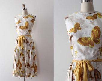 vintage 1960s butterfly dress // 60s novelty butterfly dress with belt