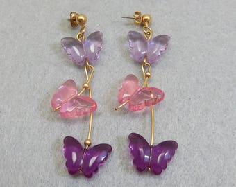Pink and Purple Plastic Butterfly Pierced Earrings, Vintage