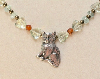 Green amethyst, amber, moss aquamarine and sterling silver cat charm necklace: CHARITY DONATION