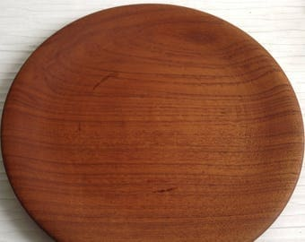 Round Teak Wood TRAY.  Vintage 1960's.  Hollywood Regency, Tiki Bar, Mid century modern, Danish Modern, Eames, Panton era.