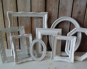 PICTURE Frames, Frame Set with Glass, Wall Grouping, White Vintage frames, Shabby Nursery, Cottage Chic, French Farmhouse Wall decor