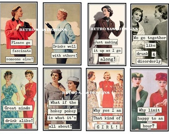 RETRO ladies with attitude and sassy sayings large TAGS-JOURNAL cards set of 8 3x4ish