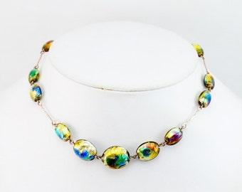 Vintage ART DECO Bohemian Peacock Foil Rainbow Glass Necklace 9K Gold Venetian Beads