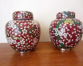 RESERVED for Geoff.  Gorgeous coordinating pair of cloisonne ginger jars.  Enamel ginger jar pair in vibrant colors.