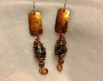 Handcrafted Copper Earrings with Natural Dragon Veins Gemstones. Wire wrapped