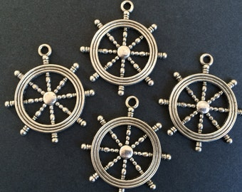 4 Antique Silver Large Ship Wheel Charms Silver Ships Helm Pendants Nautical Charms Silver Jewelry Charms 45mm x 40mm x 3mm