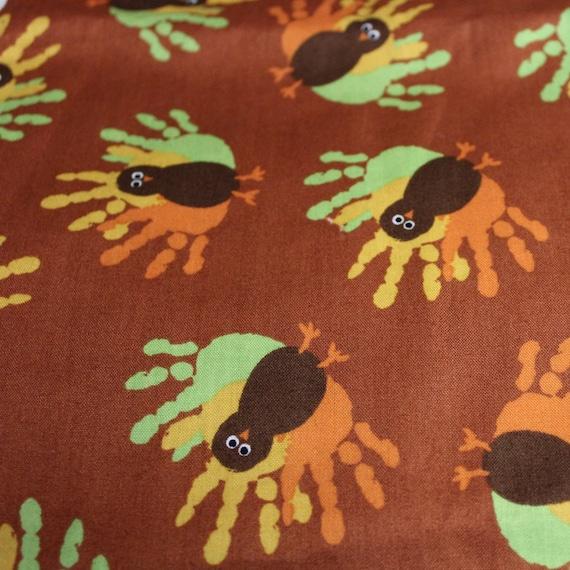 "Turkey fabric,Turkey hand fabric,Thanksgiving fabric,Children's fabric,100% cotton fabric,Quilt fabric,Craft fabric,END OF BOLT 22"" x 44"""