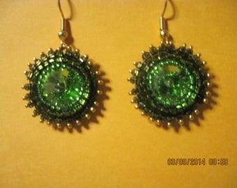 Beautiful Swarovski Emerald Rivoli & 24kt Gold Flower Earrings...1491h...OOAK