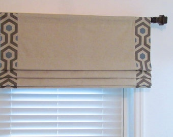Banded Faux Roman Shade Natural/Blue  Linen Fake Roman  Lined Mock Valance Original Design by SoD