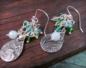 Artisan Stamped Dangle Earrings, Aqua Mix Drops Earrings, Cluster Earrings, Boho Bohemian Beach Chic