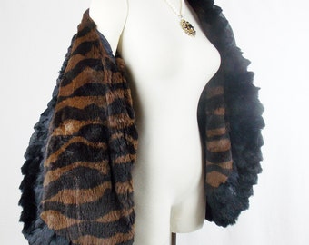 Vintage YVES SAINT LAURENT Fur Coat With Zebra Fur print Lining  Russian Look Peasant Fashion Small