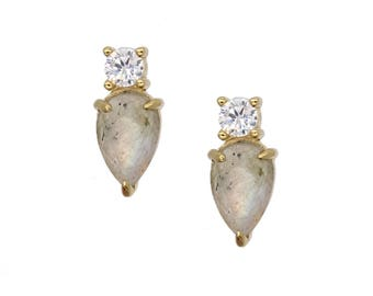 Gemstone Teardrop Crystal CZ Stud Earring - Labradorite - Abalone - Moonstone - Bridesmaids - Mother's - Gradutation