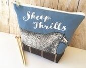 Sheep Thrills Knitting Project Bag, Blue
