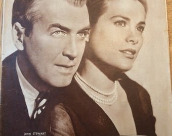 1955 Vintage French film magazine with Grace Kelly and James Stewart in Rear Window