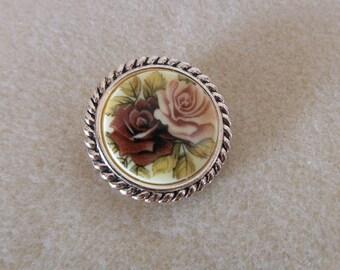 Vintage Rose Scarf Slide From Germany/Vintage rose scarf slide/womens vintage scarf slide/Shades of pink rose scarf slide vintage/womens vin