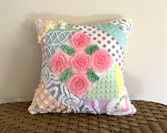 PASTEL PATCHWORK pillow cover, 14 X 14 graphic cushion cover, cottage chic pillow sham, patchwork cushion, textured collage pillow cover
