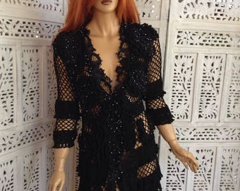 NEW RESERVED for NADIA dress handmade crochet and embroidered in black silk guipure lace embroidered  Swarovski crystals sexy by golden yarn