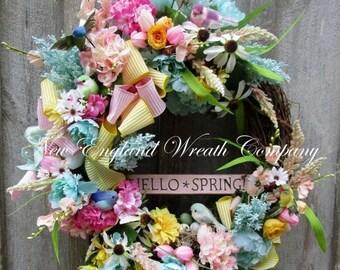 ON SALE Spring Wreath, Easter Wreath, Spring Floral Wreath, Bird Wreath, Country French Wreath, Designer Cottage Wreath, Spring Garden Wreat