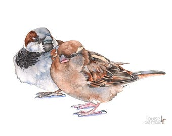 Sparrow print of watercolor painting A3 size S20817, sparrow watercolor, sparrows print, sparrows painting, bird watercolor art