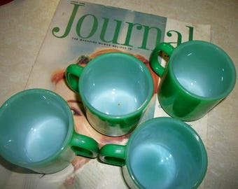 Glasbake coffee cups mugs, green milk glass , set of four