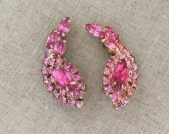Pink Rhinestone Earrings, Vintage Rhinestone Clip On Earrings, Vintage 1950s Earrings, Pink Rhinestone Costume Jewelry, Gift for Mom