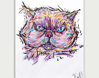 Pet Portrait, Colorful Art, Custom Cat Paintings, Acrylic On canvas, Wall Decor, Home Decor