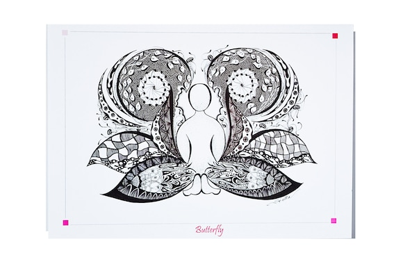 YOGA Card BUTTERFLY Pose  - 5x7 from Original Ink Drawing, Home Decor, Yoga Studio Decor