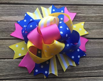 Pink yellow and blue hair bow. , funky spring hair bow , 5 inch hair bow , over the top bow