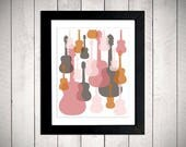 PRIVATE LISTING for Elizabeth - Modern Guitars Wall Art - Pink/Orange/Grey - DIGITAL