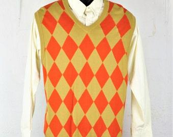 Mens Sweater Vest Large V-Neck Argyle All Cotton Vintage 1990's Preppy Menswear Golf Sportswear Unisex Sweaters