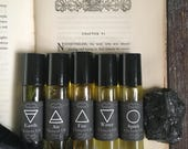 Elemental Anointing Oil Set ~ Earth Air Fire Water Spirit Herbal Perfume Oils ~ Essential Oils ~ Ritual Magick Oils Occult Altar Spells