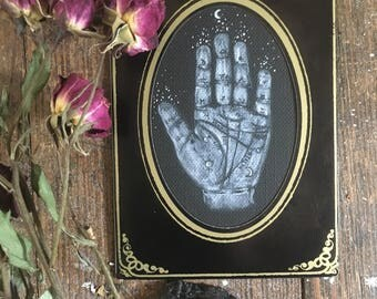 Palmistry Cabinet Card - Original Acrylic Painting on Paper of Fortune Telling Palm Reading ~ Gothic Occult Victorian Gypsy Psychic Mystic