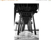 SALE 20% OFF Black and White Beach Photograph Ocean City New Jersey Shore Under the Fishing Pier Monochrome Waves Beach Decor Waves Summer W