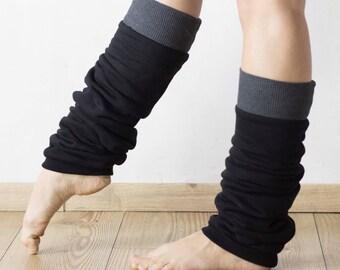 Slouchy leg warmers, ballet leg warmers, cosy cotton black and grey cuffed legwarmers, cotton extra long