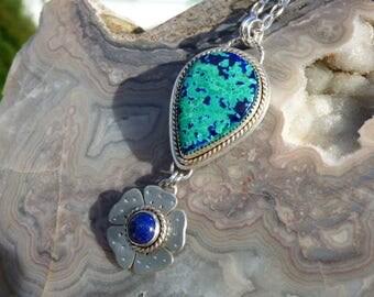 Azurite Malachite Lapis Multi Stone Sterling Silver Necklace