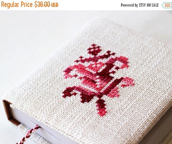 SALE -40% Notebook - Fabric covered notebook - Hand embroidered - Milky white and pink - Gift for her - Christmas - Mothers Day - Rustic - O