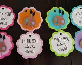 Paint party, Favor tags, gift tags, Paint party. Art party.  Personalized favor tags.
