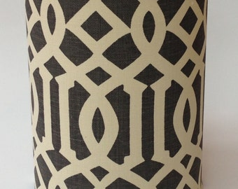"Schumacher Imperial Trellis - Smoke Cylinder Lampshade - 12"" Diameter X 14"" Tall"