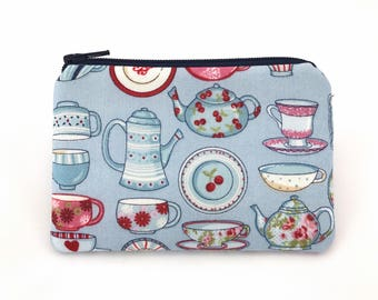 Coin Purse, Mini Zipper Pouch, Wallet Card Case, Gift for her, Change Purse, Padded - Teapot & Cup