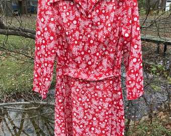 1970s Long Sleeve Button Up Mod Dress polka Dot and Geometric Pattern XL AS IS