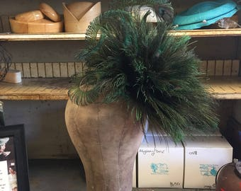 Peacock Feather Flower Cocktail Hat Headpiece.  Peacock Feathers, Kentucky Derby ,Feather Fascinator, Bespoke Feather Hat ,Burlesque, Ascot